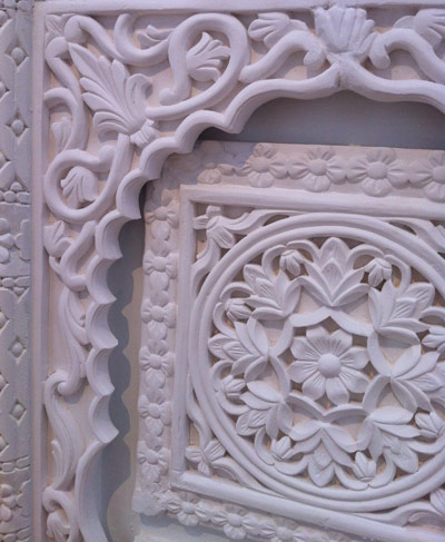 Detail of plaster replica Hijazi doors by Sara Al Abdali