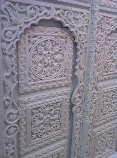 Close-up of plaster replica Hijazi doors by Sara Al Abdali