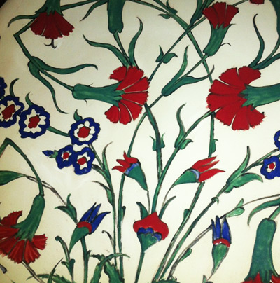Detail of Iznik ceramic plate design