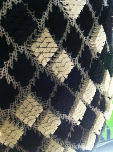 Detail of Richard Becketts 3D Printed fabric embellishments for Pringle of Scotland, A/W 2014